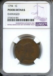 1794 LARGE CENT 1C LIBERTY CAP NGC POOR (DETAILS DAMAGE)