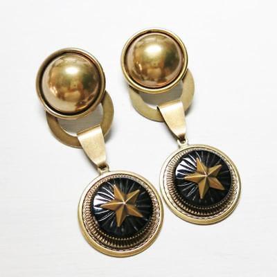 Jan Michaels Antique Brass Belle Époque Large Black Onyx Clip or Post Earrings