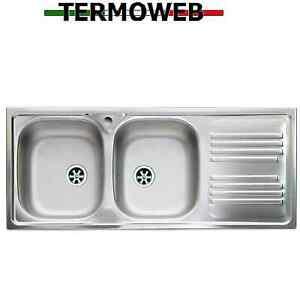 Lavello Cucina Incasso Acciaio Inox Lavandino 116 Cm 2 Vasche E Gocciolatoio Dx Ebay