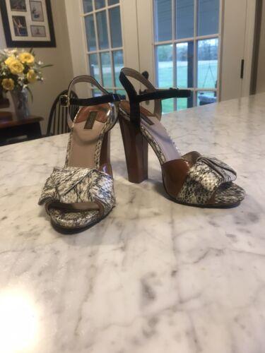 Joan and David Daderly Snakeskin Peep-toe Heels Si