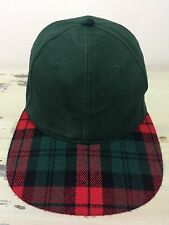 PLAID BILL HAT - Vtg Green Blank Cap, Red & Black Lumberjack Hunting SnapBack