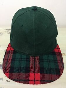 4afb1212cb7 Image is loading PLAID-BILL-HAT-Vtg-Green-Blank-Cap-Red-