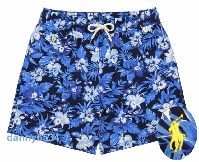 Men\u0027s Polo Ralph Lauren Traveler Blue Watercolor Floral Swim Trunks Board  Shorts