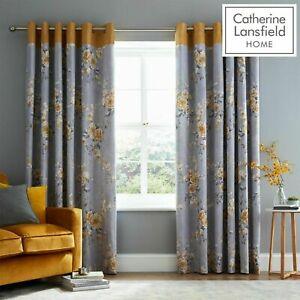 Catherine-Lansfield-Canterbury-Floral-Totalmente-Forrado-Ojal-Cortinas-gris-y-ocre