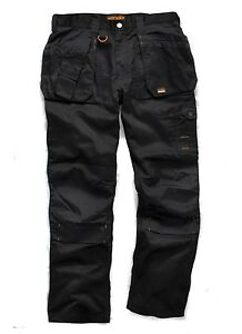 "Size 38/"" Regular Scruffs Worker Plus Trousers Combat Cargo Work Pants Black"