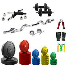 Fitfly 20Kg PVC Multi-color Home gym Set with 3Ft Curl Rod With Gym Accessories