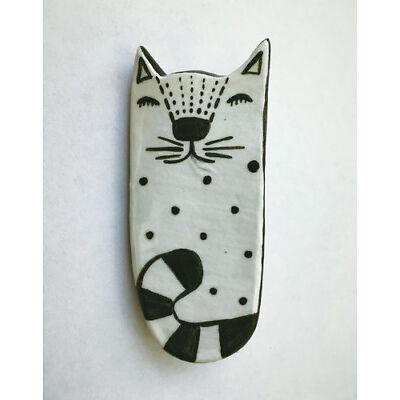 Ceramic Brooch White Cat Handmade Charity Jewelry Unique