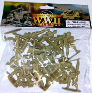 WWII-German-Afrika-Korp-Playset-20-Tan-Soldiers-1-32-AIRFIX-MARX-BATTLEGROUND