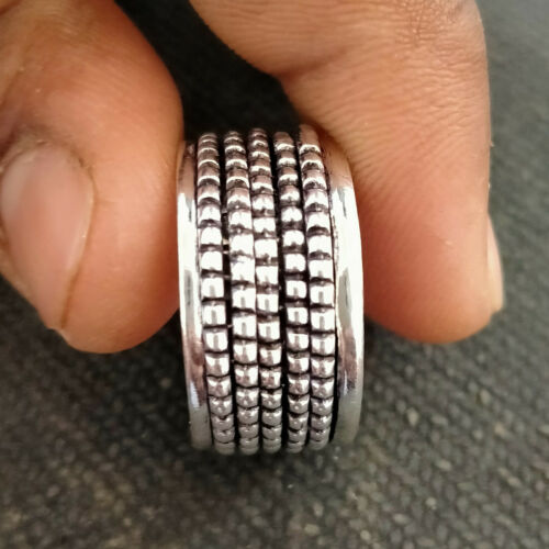 Solid 925 Sterling Silver Spinner Ring Statement Meditation Ring Jewelry vi21