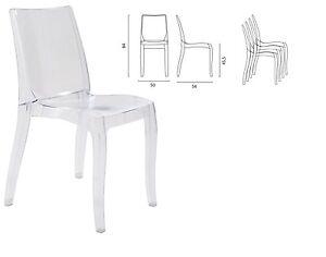 Offerta 4 sedie cristal light in policarbonato trasparente arredo