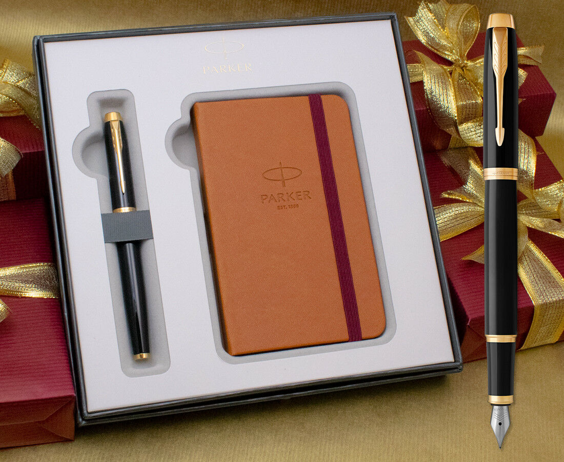 Parker Im Füllfederhalter Geschenkset - Hochglanz Schwarz Goldrand mit Gratis   Bestellung willkommen    Zu einem niedrigeren Preis    Verwendet in der Haltbarkeit