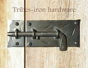 Image is loading Slide-Bolt-Door-Latch-Forged-Wrought-Iron-Cabinet- : door latched - pezcame.com