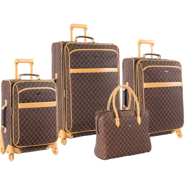 PIERRE CARDIN SIGNATURE SPINNER BROWN 4 PIECE EXPANDABLE LUGGAGE SET $1120 VALUE