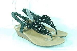 Women-039-s-Flower-Rhinestone-Mid-Wedge-Heel-Sandals-Ankle-Strap-Thongs-Black