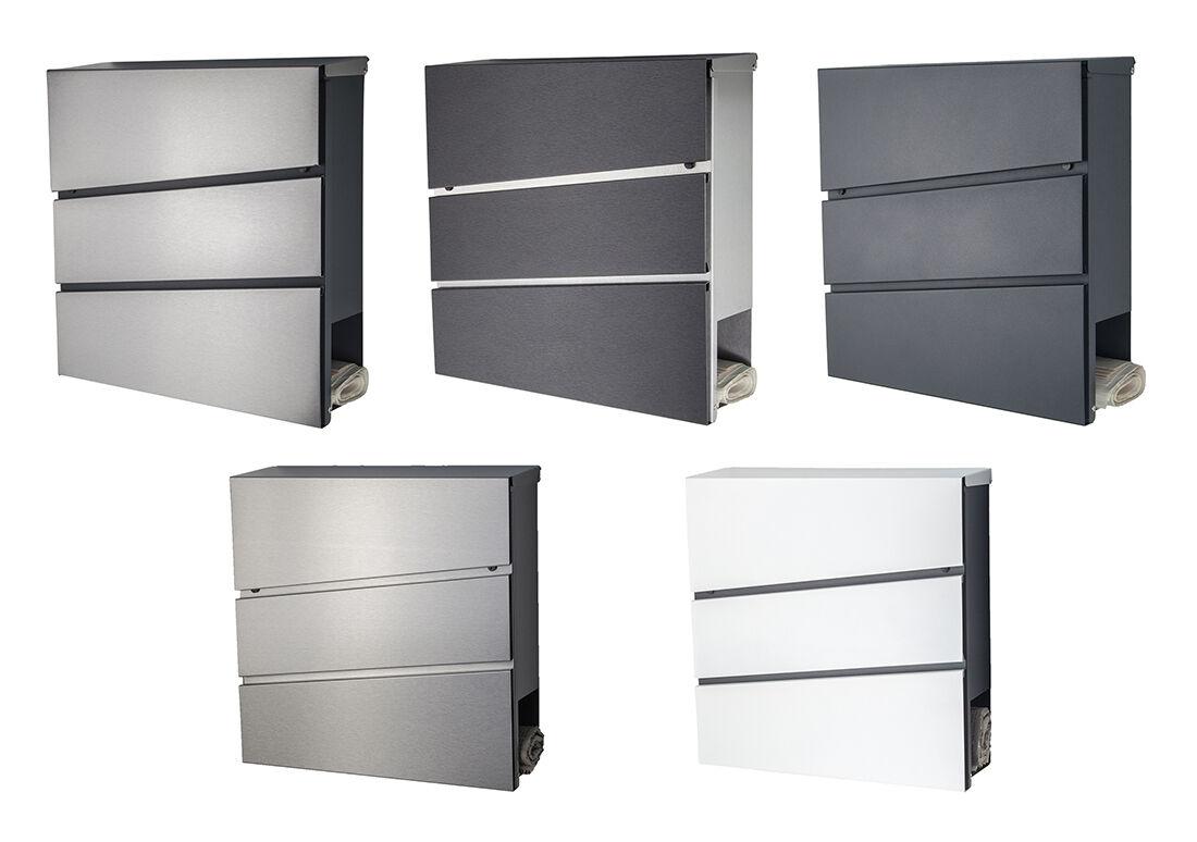 Designer Briefkasten Edelstahl anthrazit RAL 7016, grau, schwarz Zeitungfach 333
