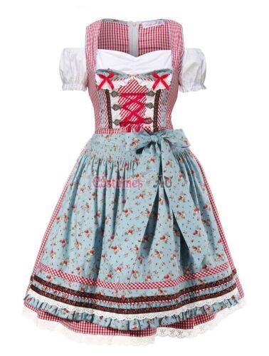 Ladies Oktoberfest Beer Maid Costume Wench German Dirndl Gretchen Fancy Dress