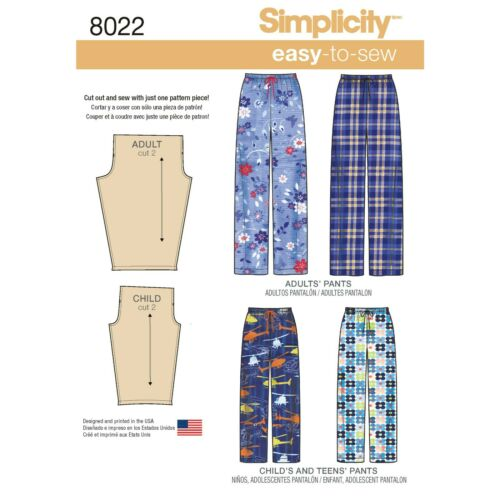 adolescents/'s /& Adulte Pantalon Simplicity sewing pattern 8022 enfants