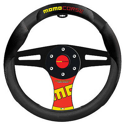 Carbon Black Red Steering Wheel Cover MOMO Corse Brand New Standard Universal