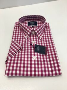 c5c5a6fad0478 Image is loading Charles-Tyrwitt-Mens-Raspberry-Gingham-Slim-Fit-Short-