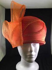 Women's Satin Ribbon Church Hat Orange Beautiful! LAST ONE