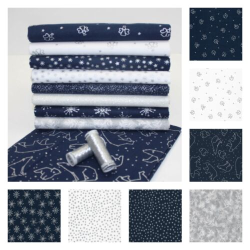 Navy and White Cotton CHRISTMAS Fabric Angels Snowflakes Stars Polar Bears