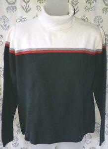 EDDIE BAUER Women's Medium Black Cream Red Gray Cotton Knit Turtleneck Shirt EUC