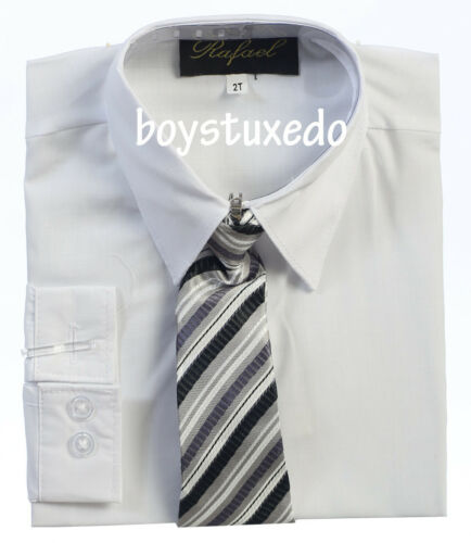 New Boy/'s Dressy White Solid Long Sleeve Dress Shirt With Tie Sizes 2T-20