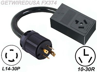 Generator L14-20P to Home 10-30P Dryer Plug Back-Feed Electric Power Adapter 3ft