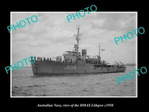 OLD-LARGE-HISTORIC-PHOTO-OF-AUSTRALIAN-NAVY-SHIP-HMAS-LITHGOW-c1950
