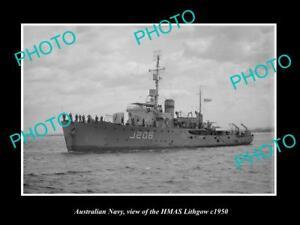 OLD-LARGE-HISTORIC-PHOTO-OF-AUSTRALIAN-NAVY-SHIP-HMAS-LITHGOW-c1950