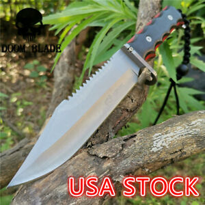 11-8IN-Hunting-Survival-Knife-5Cr15-Wood-Handle-Tactical-Army-Fixed-Blade-Knives