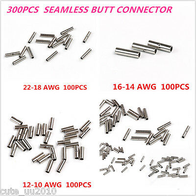 300x 12-10,16-14,22-18 Non-insulated Car Wire Seamless Butt Connectors Terminal