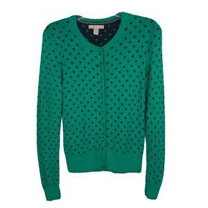 BANANA-REPUBLIC-Women-s-Cardigan-Sweater-Sz-Medium-Green-W-Blue-Polka-Dots