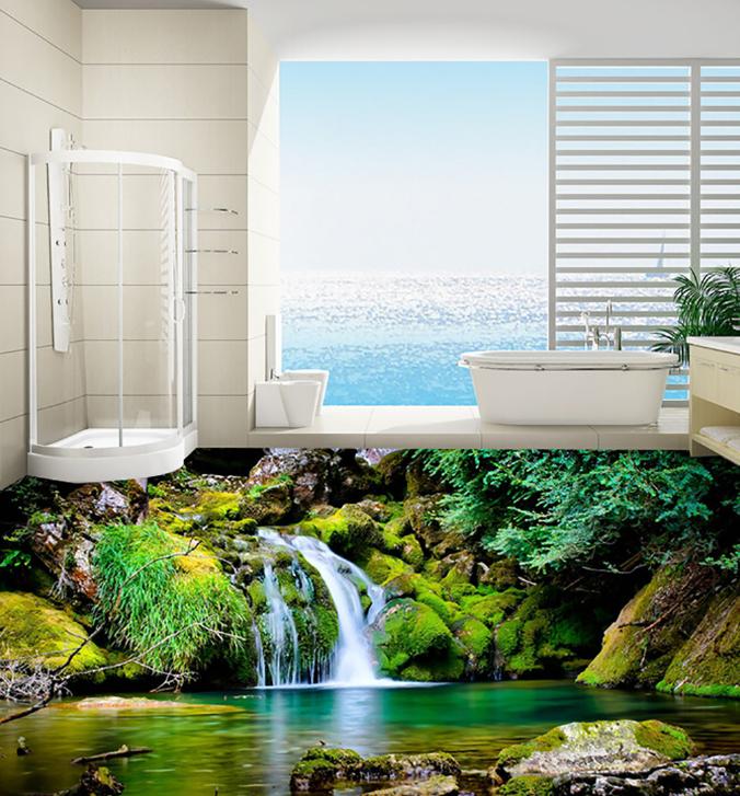 3D River Waterfall 4 Floor WallPaper Murals Wall Print 5D AJ WALLPAPER AU Lemon