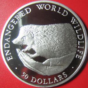 1990-COOK-ISLANDS-50-SILVER-PROOF-EUROPEAN-HEDGEHOG-ENDANGERED-WILDLIFE-CROWN