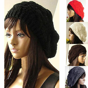 US-Sale-Women-Beret-Braided-Baggy-Knitted-Crochet-Beanie-Hat-Ski-Winter-Warm-Cap