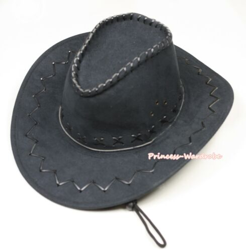 Kid Children Size Black Western Cowboy Hat Cattleman Unisex Costume for Party