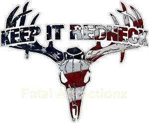keep it redneck american flag deer skull s4 vinyl sticker Deer Hunting Logos Deer Hunting Logos