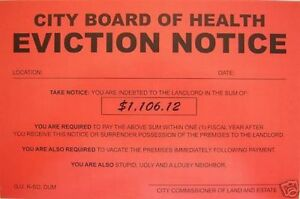 Eviction Notice | Humiliating Prank Sign Board Of Health Eviction Notice Ebay