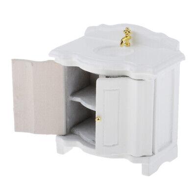 1//12 Dollhouse White Washstand Wash Basin Sink Cabinet Furniture Model Toys