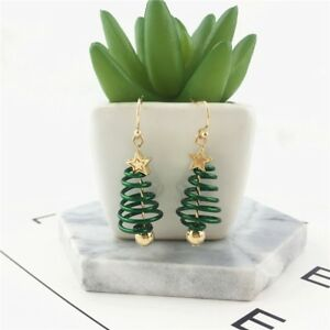 Jewelry-Party-Christmas-Tree-Earrings-Ear-studs-Gold-Plating-Green-Dangle-Drop