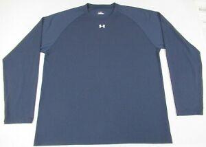Under-Armour-Heatgear-XL-Manches-Longues-Bleu-Marine-Athletique-T-Shirt-D6