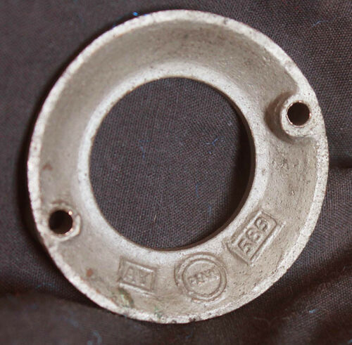 """3 avail 2/"""" Vintage NOS Antique Nickel Brass Door Cylinder Mortise Key Hole Plate"""