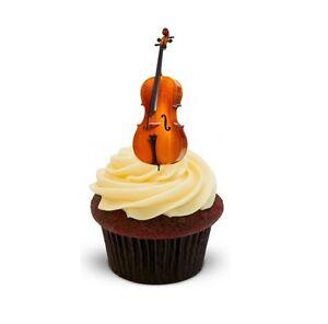 Detalles De Cello 12 Stand Ups Imagen Comestible Cake Toppers Cumpleanos Instrumento Musical Ver Titulo Original