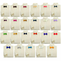 Toddler Baby Kids Boy Formal Tuxedo Suit Ivory Dress Shirt Color Bow Tie 0-7