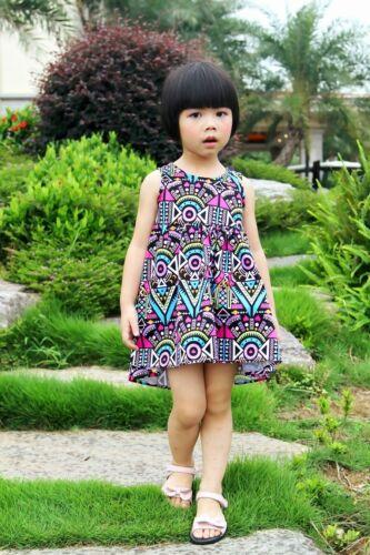 NEW Kid Girl Spring Summer Bohemia Hi-low Hem Dress Multicolor SZ 2-10 Years Z8
