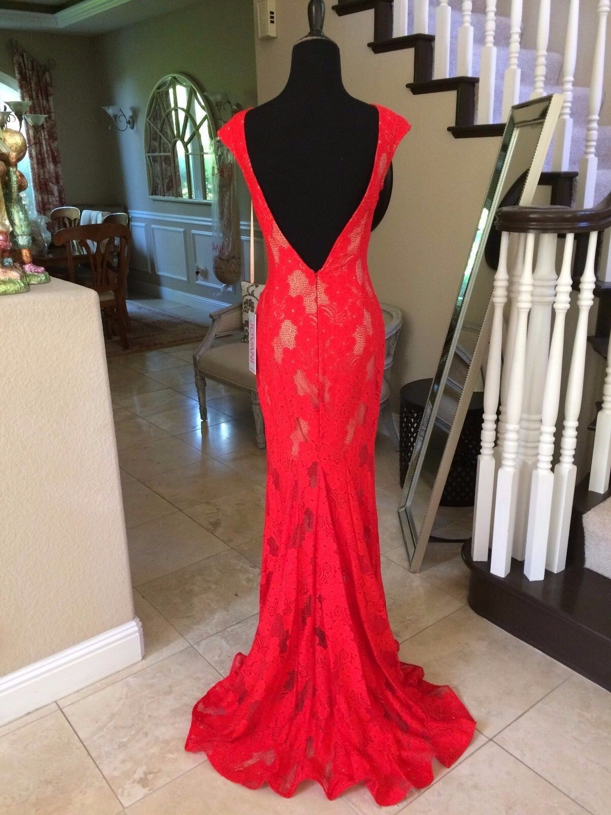 590 NWT RED LACE JOVANI PROM PROM PROM PAGEANT FORMAL DRESS GOWN SIZE 6 c22a77