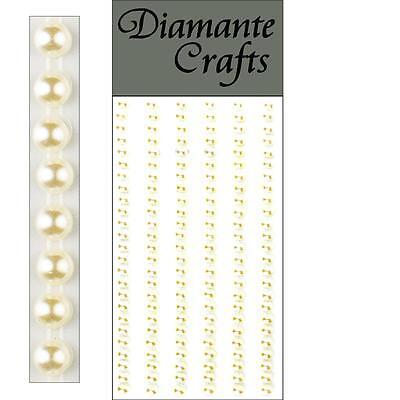 150 x 4mm Ivory Pearl Self Adhesive Strips Rows Rhinestone Body Vajazzle Gems