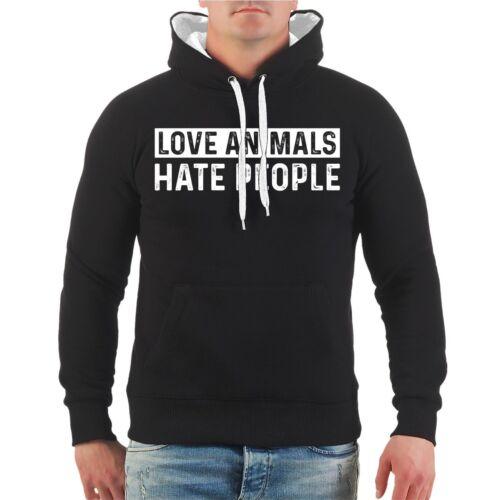 Kapuzenpullover Love Animals Hate People Hoodie Yes I Hate Haters Tierschutz