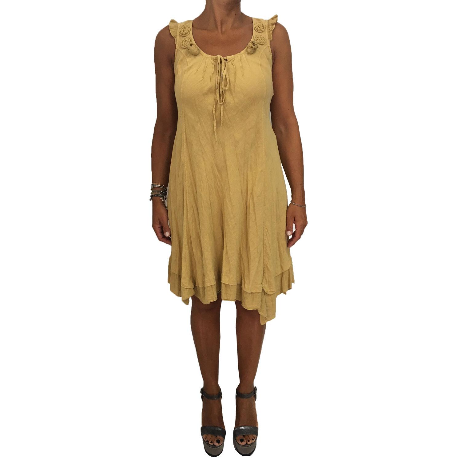 LA FEE MARABOUTEE women's dress yellow 100% linen MADE IN ITALY IT M-44 FR-40